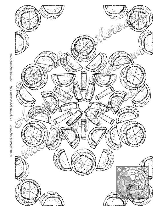 Citrus Jelly Candy Mandala Adult coloring by