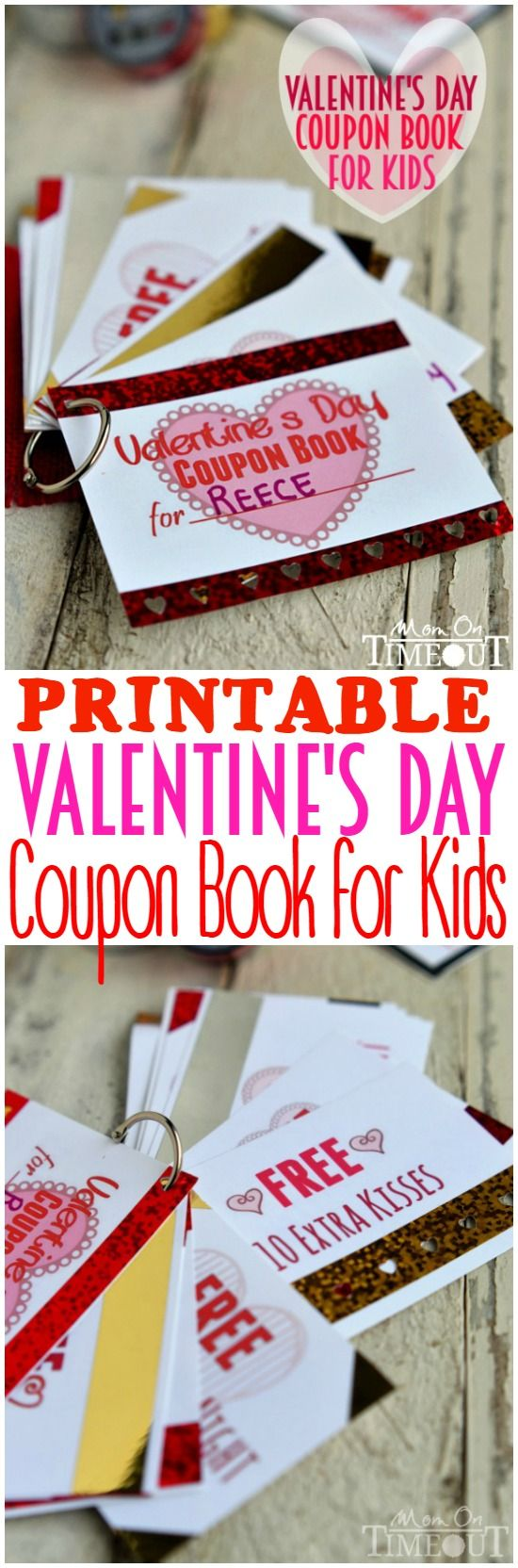 Treat your little sweetheart to a Printable Valentine's Day Coupon Book for Kids! Printable coupons for family movie night, no chores, pizza for dinner and so much more!   MomOnTimeout.com   #ValentinesDay #craft #ScotchEXP