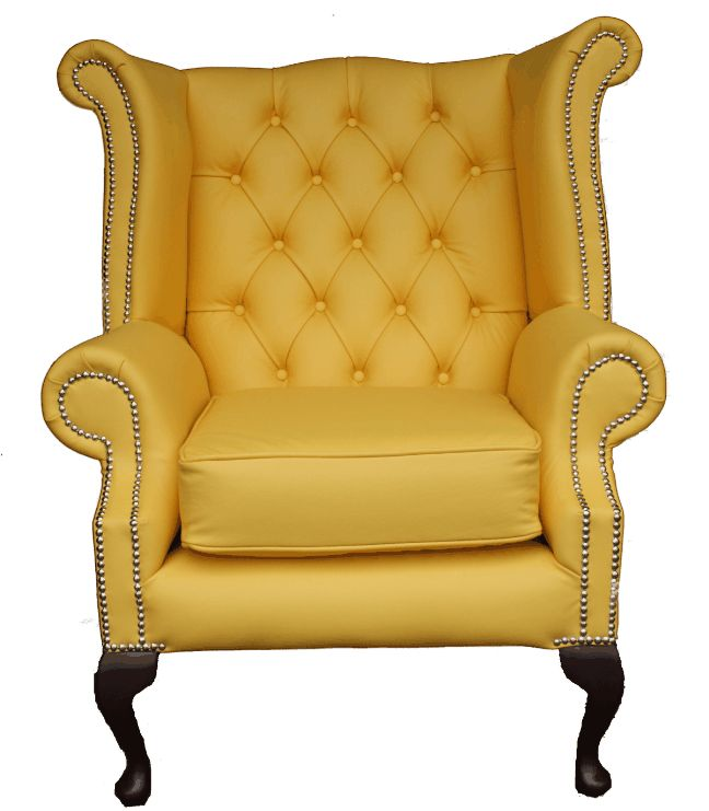 chair queen anne high back wing armchair yellow leather