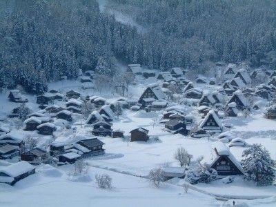 雪に染まる白川郷の合掌造り集落(3)/荻町城址・城山展望台