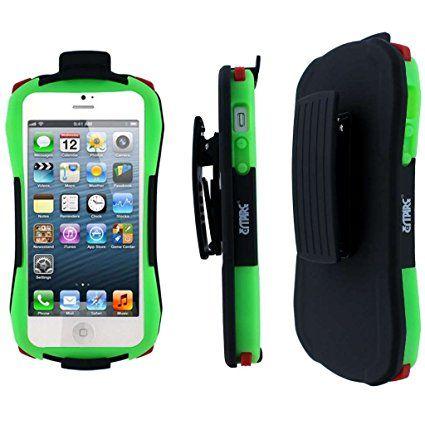 Empire - Guscio protettivo resistente con manico per Apple iPhone 5, colore: Nero/Verde fosforescente