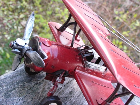 METAL TOY AIRPLANE Vintage Style Hanging Air Plane by RockNDhol, $20.00