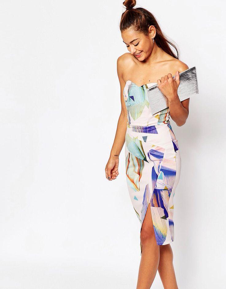 asos cutabout print bandeau midi dress with asymmetric hem at