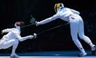 South Korea's Shin A-lam against Romania's Ana Maria Branza in the women's team epee