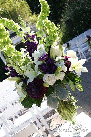 Romantic Purple and White Aisle Arrangement www.afloralaffair.com