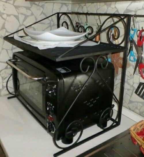 Artigianato italiano in stile rustico Mensola in ferro battuto per forno fornetto a microonde cucina salvaspazio