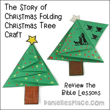 """""""The Story of Christmas"""" Folding Christmas Tree Card Craft for Sunday School from www.daniellesplace.com"""