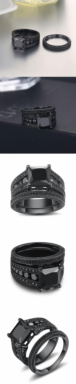 Lajerrio Jewelry Black Princess Cut Black S925 Ring Sets