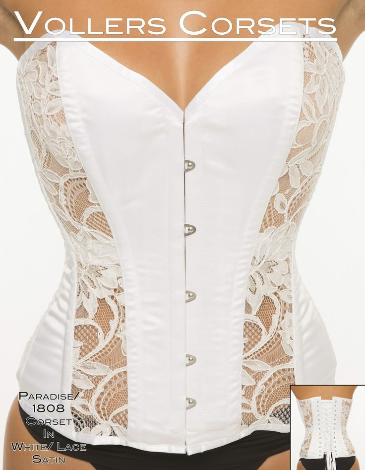 Vollers Paradise Corset in White Lace and Satin. Perfectly on trend for summer in crisp white! Available to purchase at: http://www.vollers-corsets.com/paradise.html