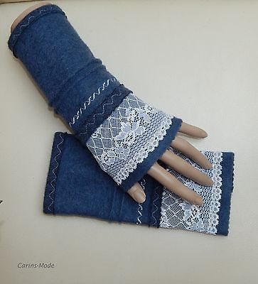 Armstulpen-Pulswaermer-Walkwolle-Wolle-Walk-SPITZE-EDEL-NEU-Blau-1814