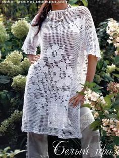 Crochet Sweater: Filet Crochet - Crochet Tunic Pattern - I don't usually like filet crochet, but this pattern is gorgeous. I would probably make it shorter sleeves. Has a large butterfly on the back