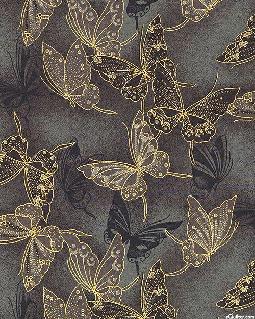 Fancy Flight - Cloisonne Butterflies - Charcoal/Gold