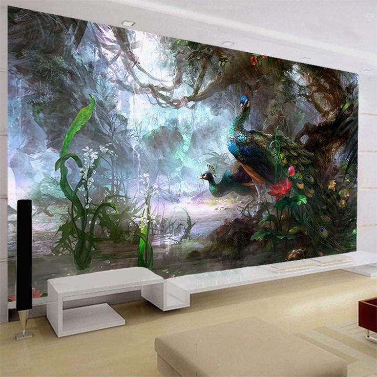 11.54$  Buy here - http://aliya9.shopchina.info/go.php?t=32802410943 - 3D Nature Wallpaper Beautiful Peacock Forest 3D Stereo Oil Painting Mural Living Room Setting Wall Landscape Decor 3D Panel Wall 11.54$ #buychinaproducts