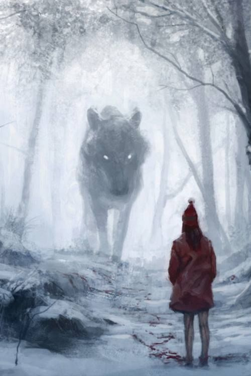 Little Red Riding Hood - that's how it is in germany. dark & bloody