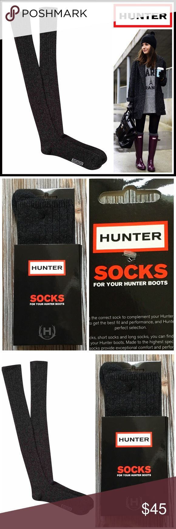 HUNTER ORIGINAL Tall Boot Socks 💟 NEW WITH TAGS 💟  HUNTER ORIGINAL Tall Boot Socks  * Super soft, cozy & comfortable fabric * Wool blend construction w/ ribbed knit detail * Stretch-to-fit; Logo detail * One size fits many, approx shoes sizes 5.5-11, tall knee high boot length * Designed for 'Hunter Original Tall Rain Boot' Fabric- 37% wool, 28% viscose, 26% polyamide, 8% Cashmere, 1% elastane; Machine wash Item# Color-Grey  🚫No Trades🚫 ✅Bundle Discounts✅ Hunter Boots Accessories Hosiery…