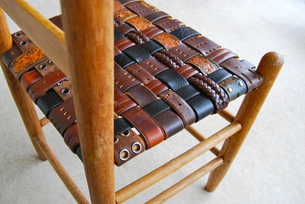 Side of the road chair made new i just wove a new seat Repurposed leather belts