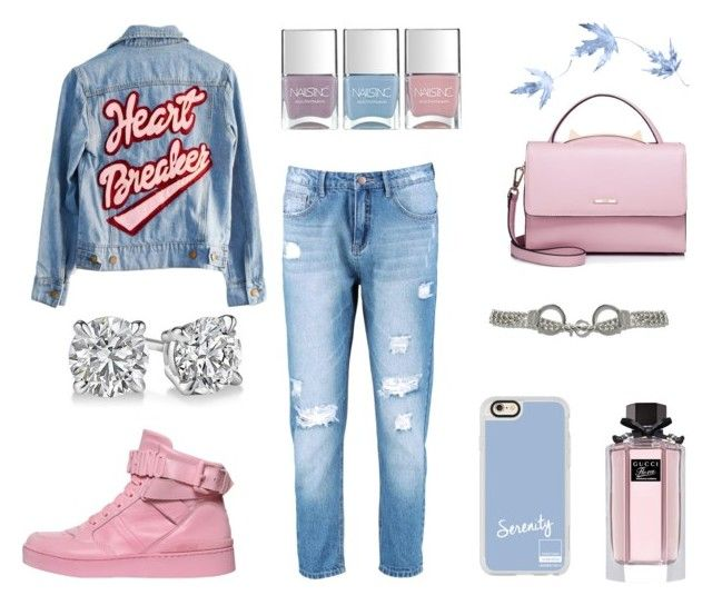 """""""Pink&Blue"""" by elena-anders on Polyvore featuring мода, High Heels Suicide, Boohoo, Moschino, Gucci, Casetify, WithChic и Nails Inc."""