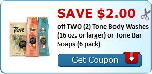 $2 off any Two Tone Body Washes or Tone bar Soaps (16oz Body Wash for $1.88 at Walmart!)
