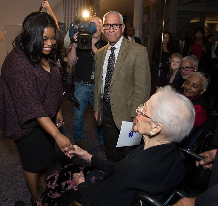 Dec. 2, 2016 Hidden Figures Premiere and Award Ceremony Actress Octavia Spencer greets Katherine Johnson as NASA Administrator Bolden stands nearby