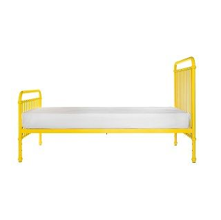 Mae Single Bed A classical and timeless single bed.  Mae comes in a gorgeous yellow colour.  Expertly crafted of sturdy and strong metal with simple curves.  $549.00 #sweetcreations #decor #nursery #baby #furniture #toddlers #kids