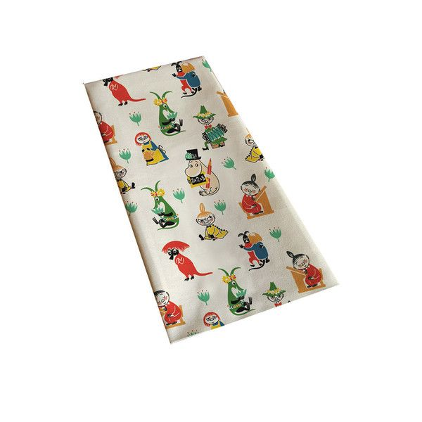 Wonderful white kitchen towel featuring beloved characters from Moominvalley in different colors. Illustrations by Tove Jansson. High quality cotton and linen,