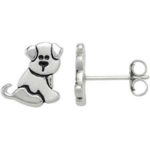Puppy Dog Childrens Earrings in Sterling Silver from www.thejewelryvine.com