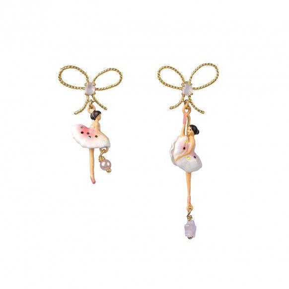 Boucles d'oreilles ballerines asymétriques rose pailletté, bijoux fantaisie, danseuse