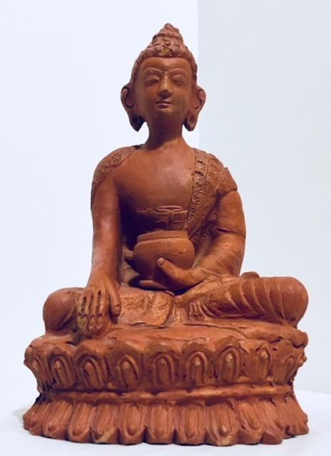Terracotta Buddha Figure, Bodi, Deity, Alter Statue, Meditation Room, Antique Alchemy