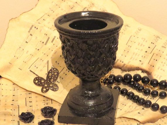Black candle holder Gothic candle holder ritual by ChippedPaints
