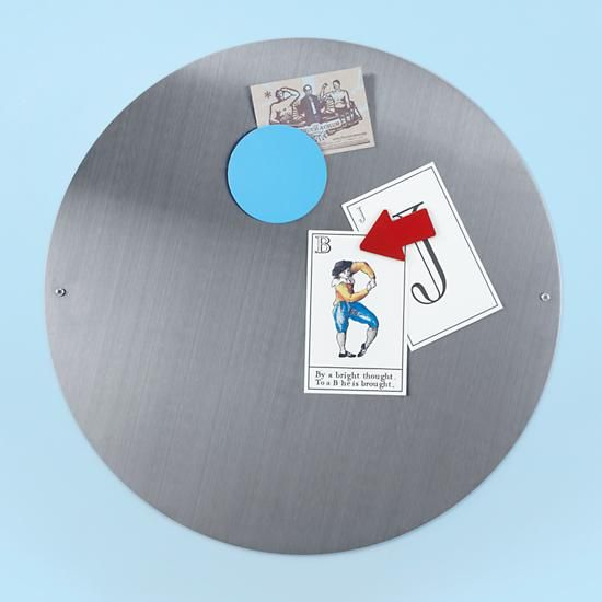 The Land of Nod | Kids' Bulletin Boards: Kids Stainless Steel Circle Magnet Board in Magnet Boards