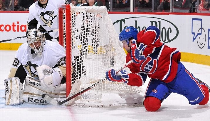 Marc-Andre Fleury blocks Louis Leblanc of Montreal  2-7-12