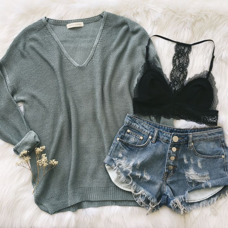 Sweater Weather - Bambi Knit Sweater, Valerie Bralette, Celeste Button Shorts | Shop the look at Phoenix.com