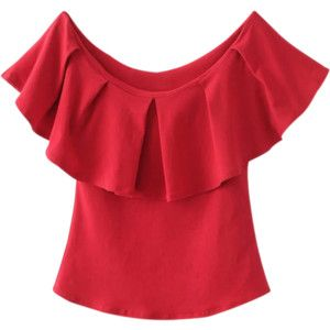 Off The Shoulder Ruffles Top Red