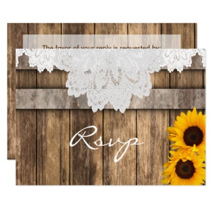 RSVP Wedding in a Rustic Wood and Lace Card - country wedding gifts marriage love couples diy customize