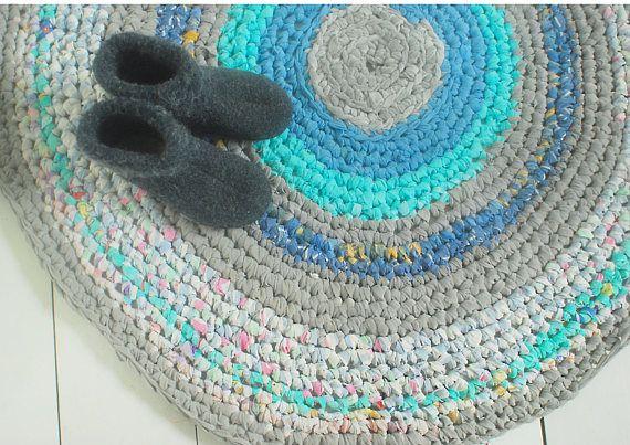 Blue hand made crochet rug handmade carpet eco rug crochet