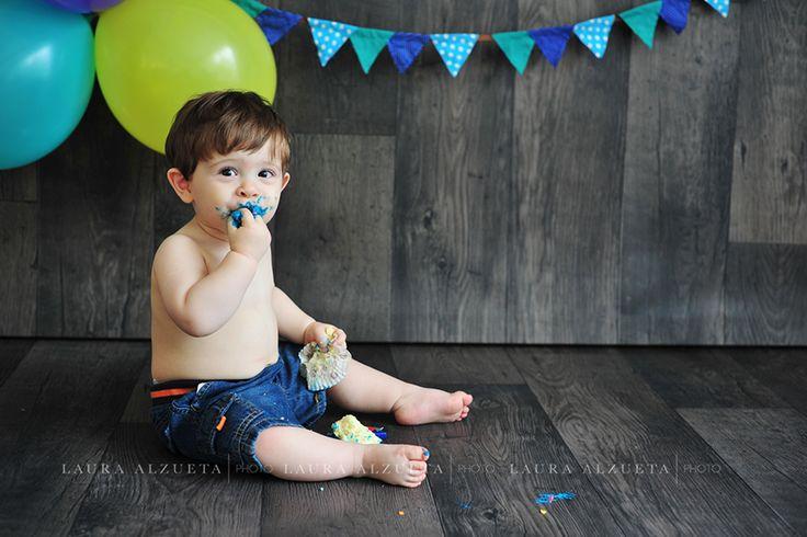 """Ensaio de bebê 1 ano: """"smash the cake""""do Pedro!"""