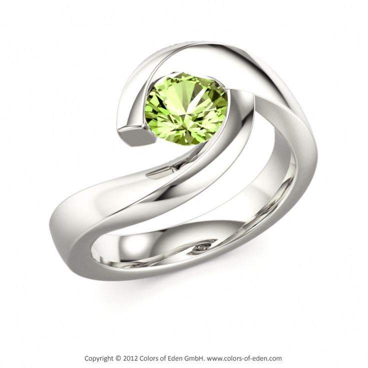 Solitaire Ring TWIST #peridot #ring