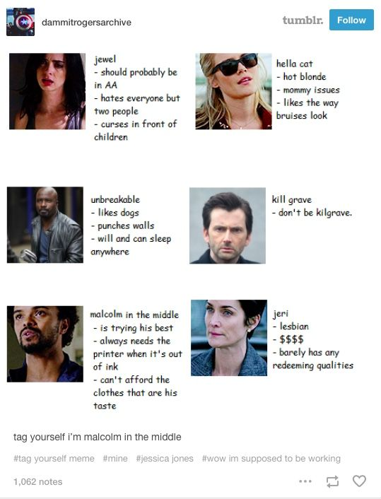 jessica jones, jj, luke cage, lucas cage, trish walker, patsy walker, patricia walker, killgrave, zebediah killgrave, malcolm ducrasse, malcolm, jeri hogarth, hogartth, jessica jones tumblr, jj tumblr, meme, tag yourself, tag yourself meme, marvel, marvel comics, comics, mcu, marvel cinematic universe, netflix, marvel netflix