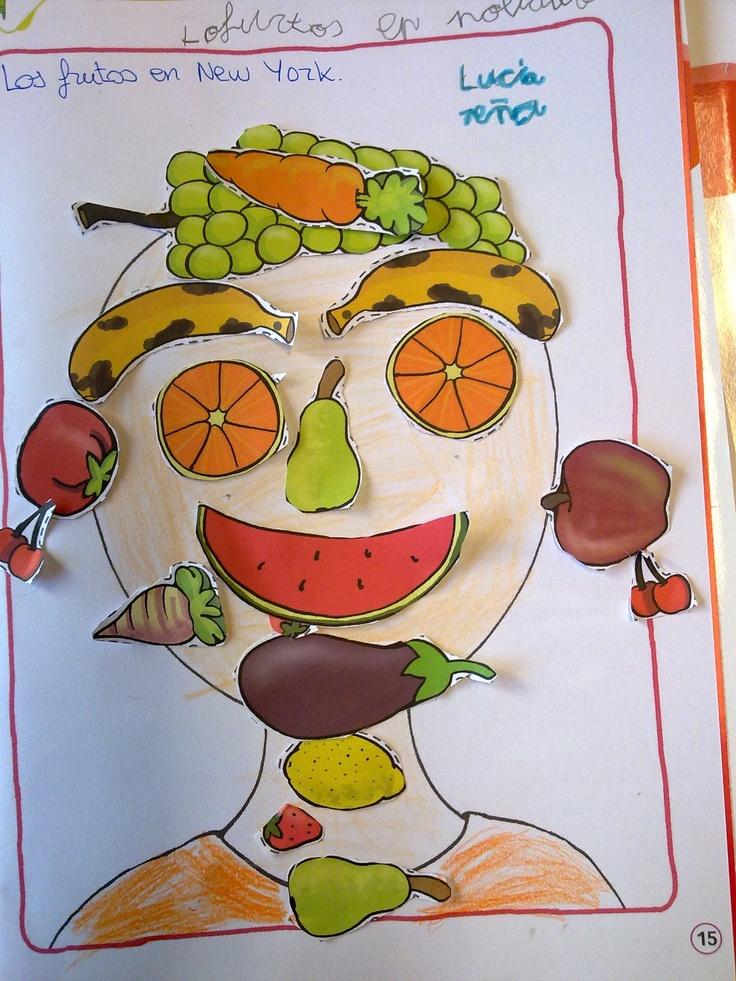 Frutas y verduras / vocabulario de la cara / colores -   Arte: Arcimboldo (no es un pintor español pero algunos cuadros suyos están en Madrid)