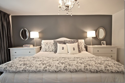Wonder if I could fit drawers on my side of the bed and just a bedside cabinet on the left, will it look odd? Extra storage space would be great. This is my bedding, could do one darker grey accent wall, love this.