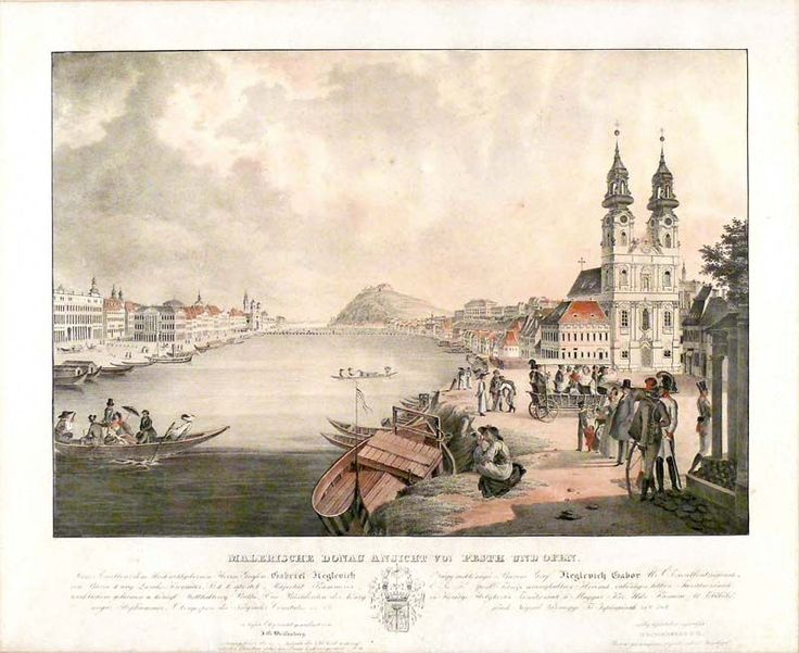 Buda és Pest látképe – az előtérben a Bomba (ma Batthyány) téri templom  graf.: Weissenberg Ignác