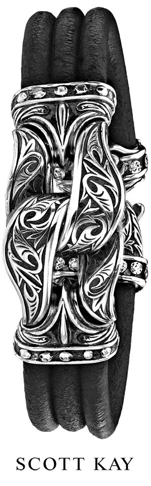"Scott Kay Mens Guardian Bracelet 925 3 Strand Black Leather 8"" Originally $1250 | eBay"