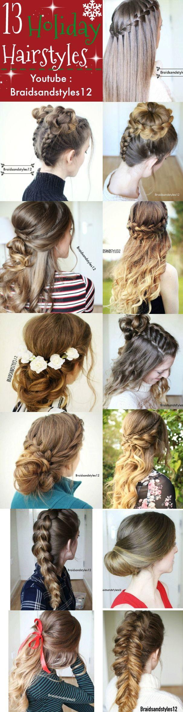 Holiday Hairstyle Ideas / Christmas Holidays Hair Ideas by Braidsandstyles12. Tutorials : https://www.youtube.com/channel/UC8ouEGIBm1GNFabA_eoFbOQ