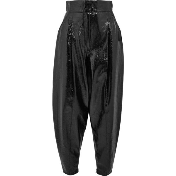 05c16b6578a8d0 Wanda Nylon Textured-vinyl tapered pants ($470) ❤ liked on Polyvore  featuring pants, black, shiny nylon pants, shiny pants, vinyl pants,  textured pants and ...