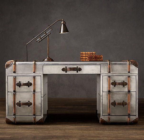 metal trunk desk from restoration hardware i love this