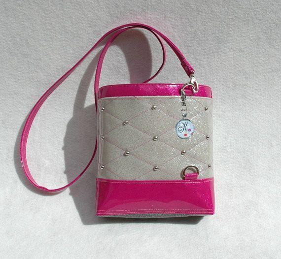 White & Pink Glitter Vinyl Crossbody Bag by KwaintAccessories