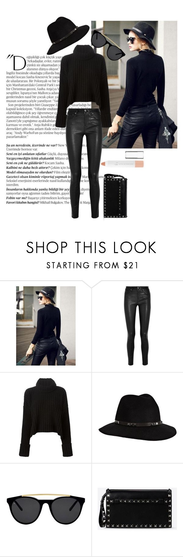 """""""Shein"""" by eowynthecat ❤ liked on Polyvore featuring Balmain, Helmut Lang, Faith Connexion, Anine Bing, Smoke x Mirrors, Valentino and e.l.f."""