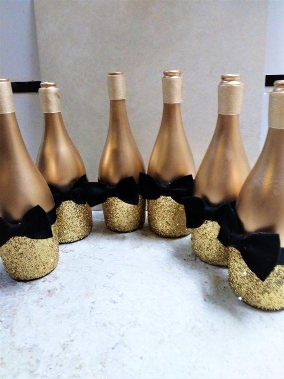 Décor de bouteille de vin d'or scintillant avec des cravates d'arc, décor de table de mariage, ensemble de 2, Centerpieces de table de partie, pièces maîtresses noires et d'or – Nouvel an
