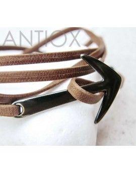 Ανδρικό Βραχιόλι Brown Leather & Arrow