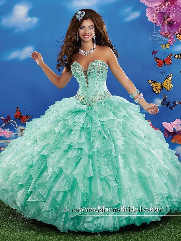 2015 Multi Mint Quinceanera Dresses Ball Gown Beaded
